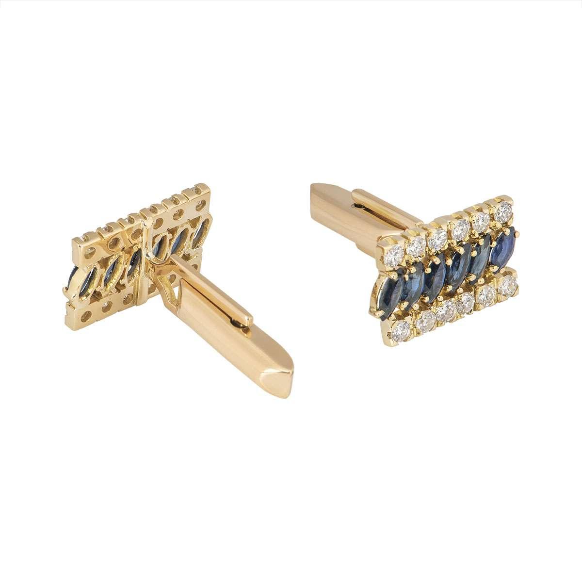 Yellow Gold Diamond And Sapphire Cufflinks